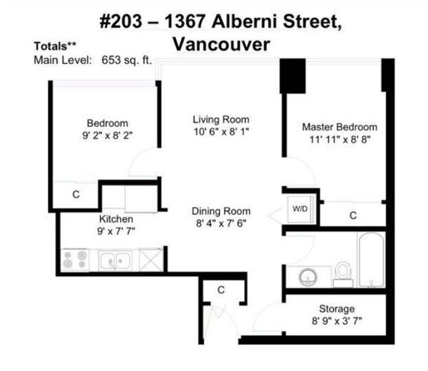 203 -  1367 ALBERNI #203 West End VW, Vancouver (R2181666)